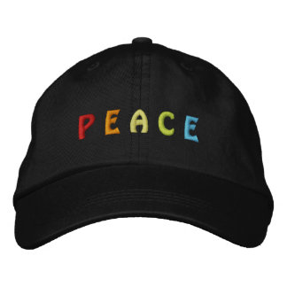 colorful PEACE Embroidered Baseball Hat