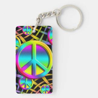 Colorful PEACE Double-Sided Rectangular Acrylic Keychain