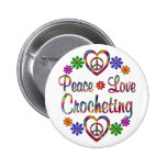 Colorful Peace Love Crocheting 2 Inch Round Button