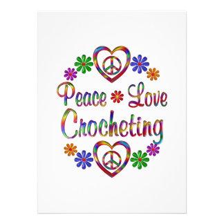 Colorful Peace Love Crocheting Personalized Invitations