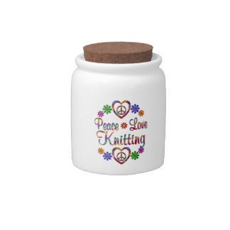 Colorful Peace Love Knitting Candy Jar