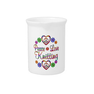 Colorful Peace Love Knitting Pitchers