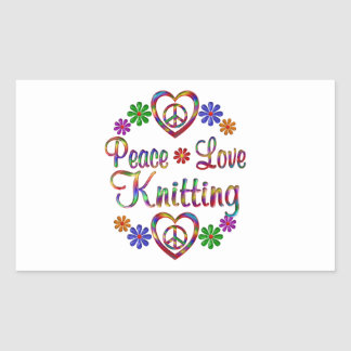 Colorful Peace Love Knitting Rectangular Sticker