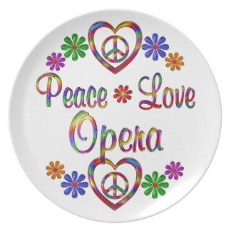 Colorful Peace Love Opera Plate