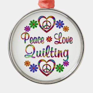 Colorful Peace Love Quilting Christmas Ornaments