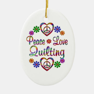 Colorful Peace Love Quilting Ornament