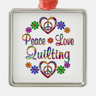 Colorful Peace Love Quilting Ornaments