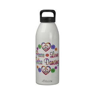 Colorful Peace Love Salsa Reusable Water Bottles