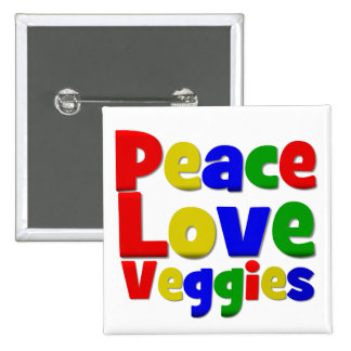 Colorful Peace Love Veggies 2 Inch Square Button