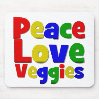 Colorful Peace Love Veggies Mousepads