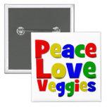 Colorful Peace Love Veggies Pinback Button