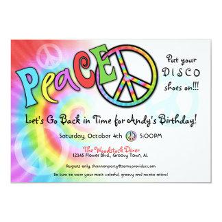 "Colorful PEACE Party Invitation 5"" X 7"" Invitation Card"