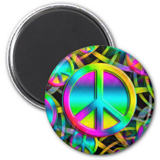 Colorful PEACE seamless pattern + your ideas 2 Inch Round Magnet