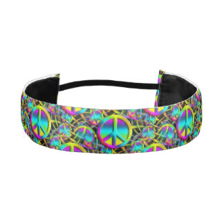 Colorful PEACE seamless pattern + your ideas Athletic Headband
