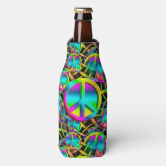 Colorful PEACE seamless pattern + your ideas Bottle Cooler