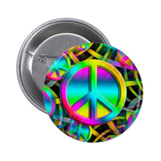 Colorful PEACE seamless pattern + your ideas 2 Inch Round Button
