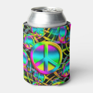 Colorful PEACE seamless pattern + your ideas Can Cooler