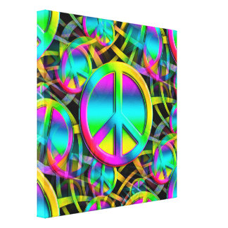 Colorful PEACE seamless pattern + your ideas Canvas Print