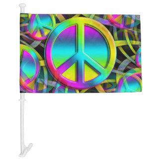 Colorful PEACE seamless pattern + your ideas Car Flag