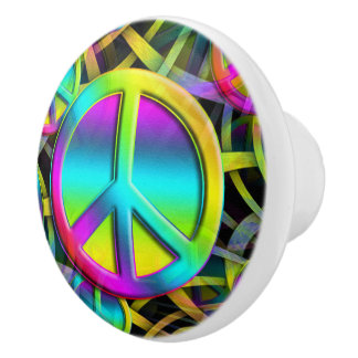 Colorful PEACE seamless pattern + your ideas Ceramic Knob