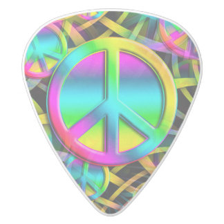 Colorful PEACE seamless pattern + your ideas White Delrin Guitar Pick
