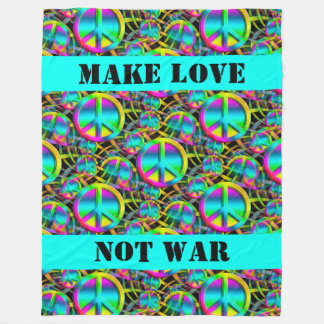 Colorful PEACE seamless pattern + your ideas Fleece Blanket