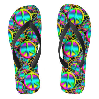 Colorful PEACE seamless pattern + your ideas Flip Flops