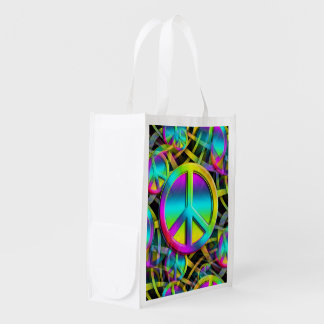 Colorful PEACE seamless pattern + your ideas Grocery Bag