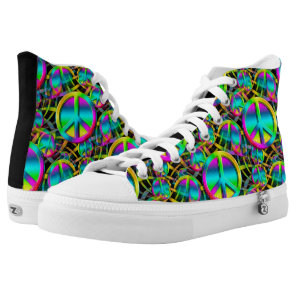 Colorful PEACE seamless pattern   your ideas High-Top Sneakers