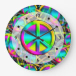 Colorful PEACE seamless pattern + your ideas Large Clock