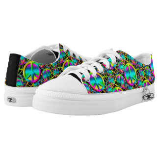 Colorful PEACE seamless pattern + your ideas Low-Top Sneakers