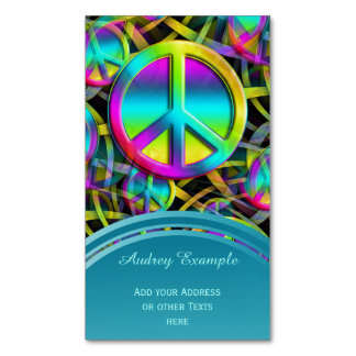 Colorful PEACE seamless pattern + your ideas Magnetic Business Card