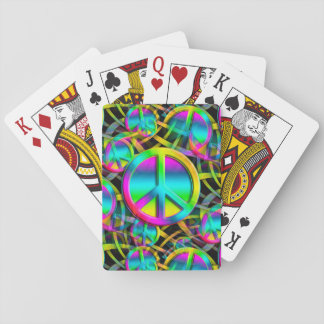 Colorful PEACE seamless pattern + your ideas Playing Cards