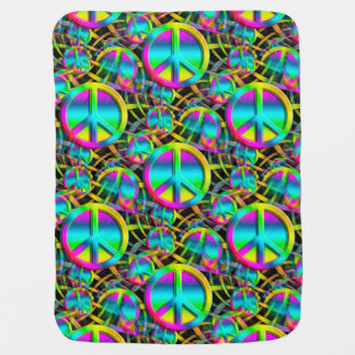 Colorful PEACE seamless pattern + your ideas Receiving Blanket