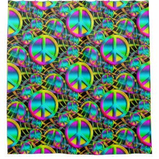 Colorful PEACE seamless pattern + your ideas Shower Curtain