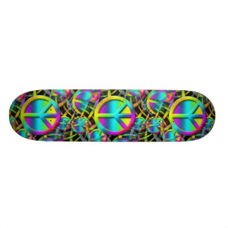 Colorful PEACE seamless pattern + your ideas Skateboard Deck