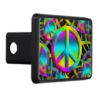 Colorful PEACE seamless pattern + your ideas Tow Hitch Covers