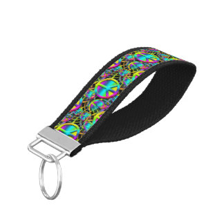 Colorful PEACE seamless pattern + your ideas Wrist Keychain