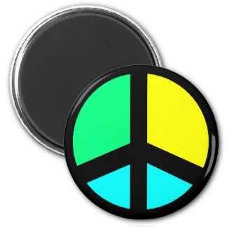 Colorful Peace Sign 2 Inch Round Magnet