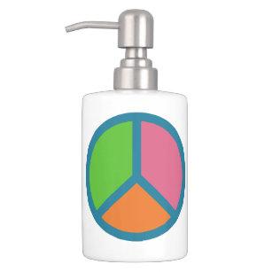 Colorful Peace Sign Bathroom Set