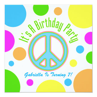 Colorful Peace Sign: Birthday Party Invitations