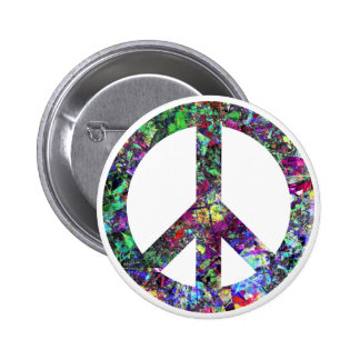Colorful Peace Sign Button