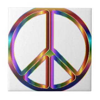 Colorful Peace Sign Ceramic Tile