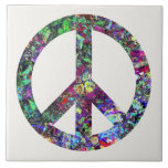 Colorful Peace Sign Ceramic Tiles