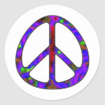 colorful peace sign classic round sticker