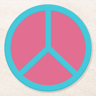 Colorful Peace Sign coasters Round Paper Coaster
