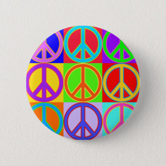 Colorful Peace Sign Design Button