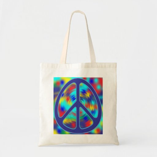 colorful peace sign design canvas bags