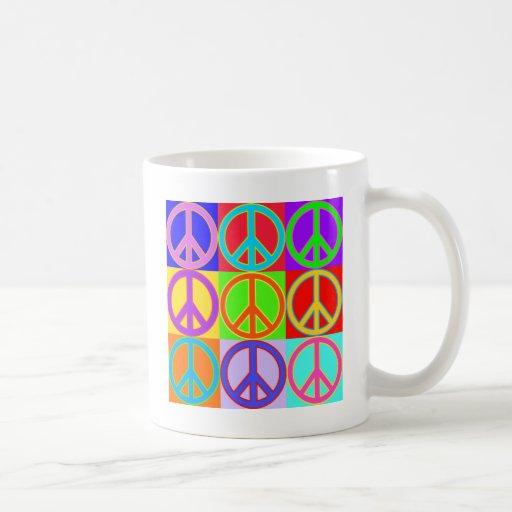 Colorful Peace Sign Design Classic White Coffee Mug