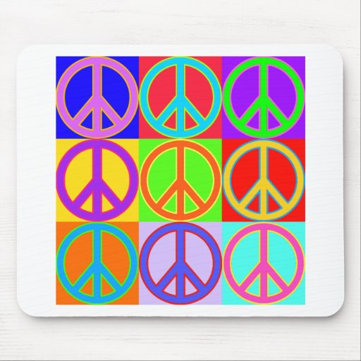 Colorful Peace Sign Design Mouse Pads